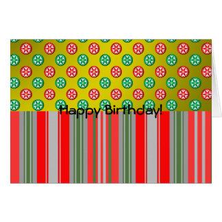 Copos de nieve verdes rojos en círculos en rayas d tarjeta de felicitación