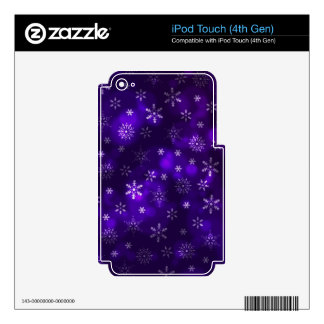 Copos de nieve violetas iPod touch 4G calcomanía