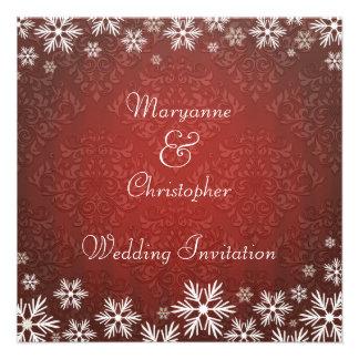 Copos de nieve y boda rojo del damasco invitacion personalizada