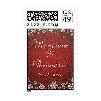 Copos de nieve y boda rojo del damasco sello