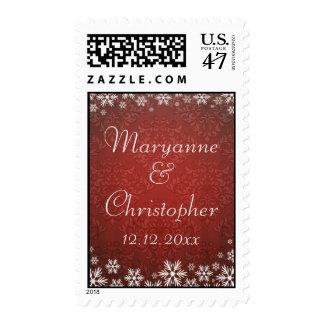 Copos de nieve y boda rojo del damasco timbres postales