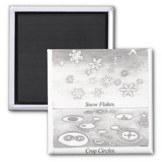 Copos de nieve y círculos de la cosecha comparados imán cuadrado