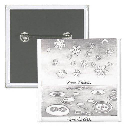Copos de nieve y círculos de la cosecha comparados pins