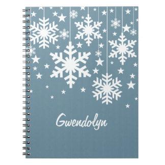 Copos de nieve y cuaderno de las estrellas, azul