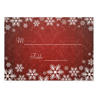 Copos de nieve y cubierto rojo del boda del damasc tarjetas de visita