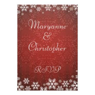 Copos de nieve y damasco rojo que casan RSVP Comunicado Personal