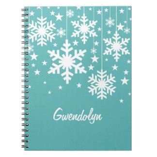Copos de nieve y estrellas cuaderno, aguamarina