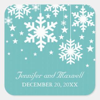 Copos de nieve y estrellas que casan a los pegatina cuadrada