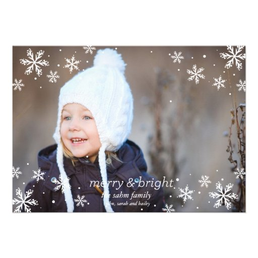 Copos de nieve y feliz y brillante invitación personalizada