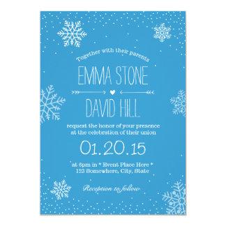 Copos de nieve y invitación simples del boda del invitación 12,7 x 17,8 cm