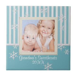 Copos de nieve y marco de la foto de las rayas tejas  ceramicas