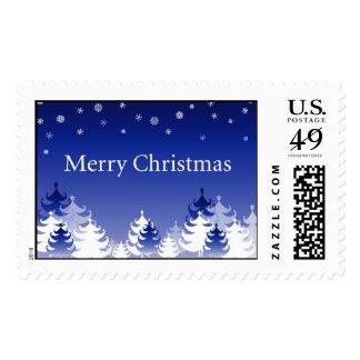 Copos de nieve y navidad blanco de los abetos timbre postal