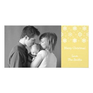 Copos de nieve y navidad Photocard oro de la nie Tarjetas Fotográficas Personalizadas