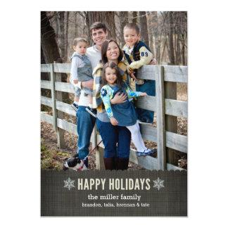 """Copos de nieve y tarjeta de Navidad de lino del Invitación 5"""" X 7"""""""