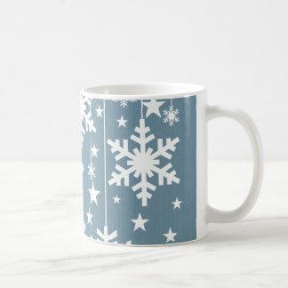 Copos de nieve y taza de las estrellas, azul