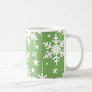 Copos de nieve y taza de las estrellas, verde