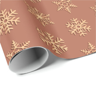 Copper 3-d snowflakes, Customizable Background Wrapping Paper