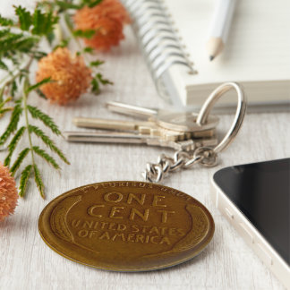 copper american wheat penny keychain