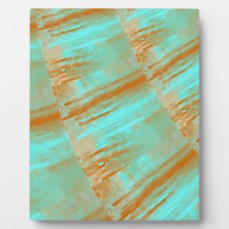 Copper and Aqua Curves Design Plaque