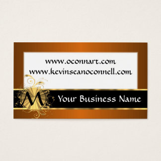 Copper and black with monogram business card