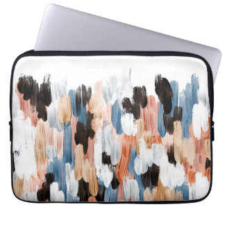 Copper and Blue Brushstrokes Abstract Design Laptop Sleeve