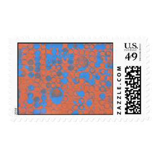Copper and blue bubbles postage stamps