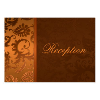 Copper and Brown Damask II Enclosure Card Large Business Cards (Pack Of 100)