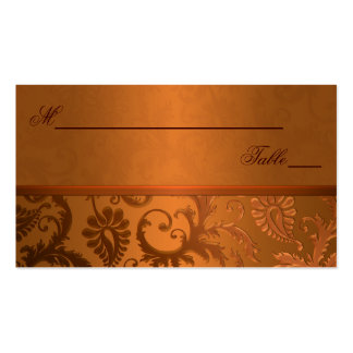 Copper and Brown Damask Place Cards Double-Sided Standard Business Cards (Pack Of 100)