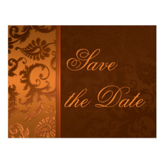 Copper and Brown Damask Save the Date Postcard