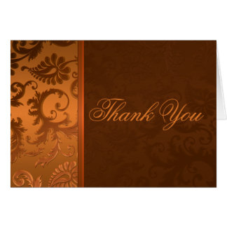 Copper and Brown Damask Thank You Card
