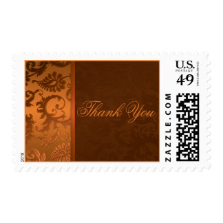 Copper and Brown Damask Thank You Postage