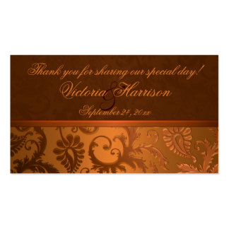 Copper and Brown Damask Wedding Favor Tag Double-Sided Standard Business Cards (Pack Of 100)