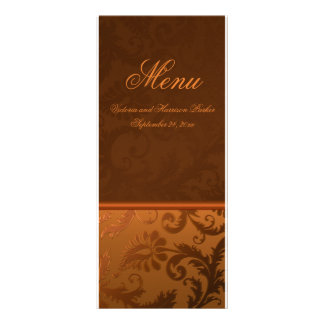 Copper and Brown Damask Wedding Menu Card Custom Rack Cards