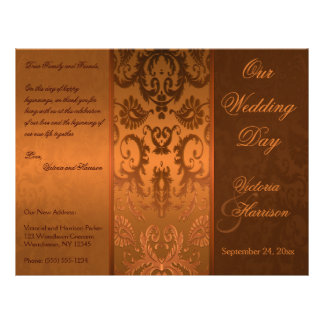 Copper and Brown Damask Wedding Program Personalized Flyer