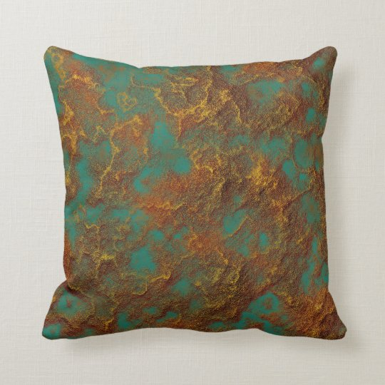 Copper And Gold Patina Turquoise Rock Texture Throw Pillow