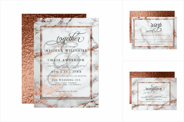 Copper and Marble Wedding Bold Elegance