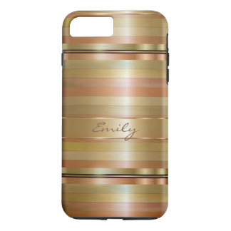 Copper And Metallic Gold Stripes iPhone 7 Plus Case