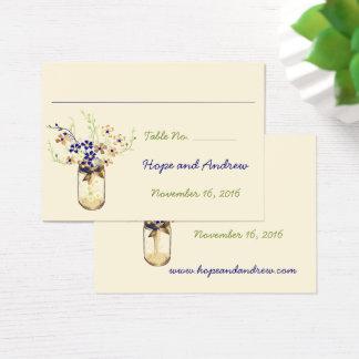 Copper and Navy Wild Flower Mason Jar Business Card