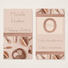Copper and simulated glitter makeup artist business card