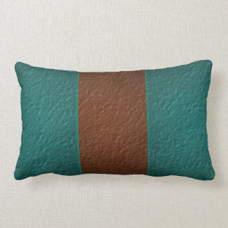 Copper and Turquoise Green Crinkle Texture Lumbar Pillow