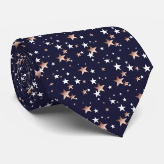 Copper and White Star Spangled Navy Blue Tie