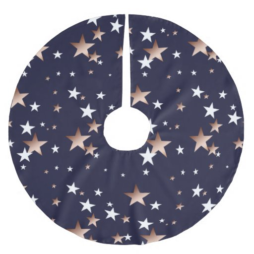 Copper And White Stars On Navy Blue Brushed Polyester Tree