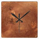 Copper background square wall clocks