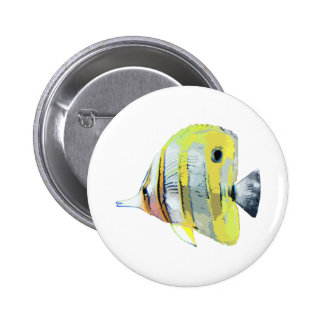 Copper-banded Butterfly Fish 2 Inch Round Button