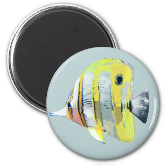 Copper-banded Butterfly Fish 2 Inch Round Magnet