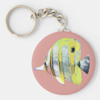 Copper-banded Butterfly Fish Basic Round Button Keychain