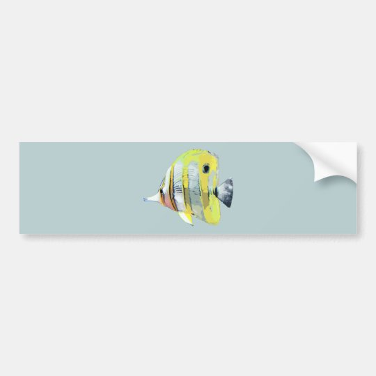 Copper-banded Butterfly Fish Bumper Sticker