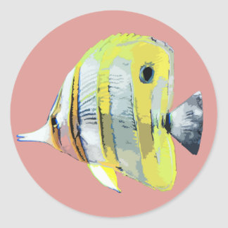Copper-banded Butterfly Fish Classic Round Sticker