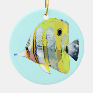 Copper Banded Butterfly Fish Double-Sided Ceramic Round Christmas Ornament