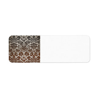 Copper, Black, and Brown Damask Label